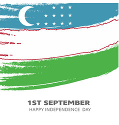 uzbekistan independence day country flag in brush vector image