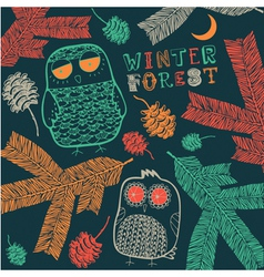 Vintage Winter Owl Pattern vector image