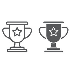 winner line and glyph icon game and award trophy vector image