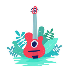 with acoustic guitar and nature vector image