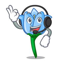 With headphone bell flower mascot cartoon vector