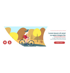 woman cyclotourisme autumn landscape background vector image