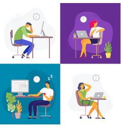 working late overtime work busy workaholic vector image