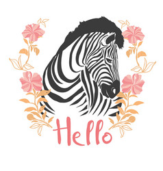Zebra portrait in a striped tie with a pink vector