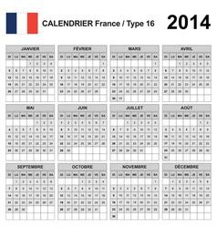 Calendar 2014 France Type 16 vector image vector image