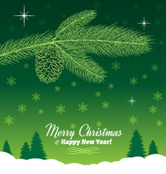 Christmas Tree Branch with Pine Cone in Green vector image
