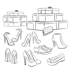 Collection of shoes vector image vector image