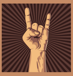 hand in rock sign background vector image