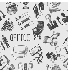 Office sketch seamless pattern vector image vector image