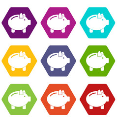 piggy bank icon set color hexahedron vector image vector image