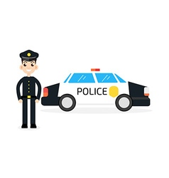 police car with policeman vector image vector image