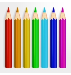 Set of Realistic Rainbow Colored Pencils Isolated vector image vector image
