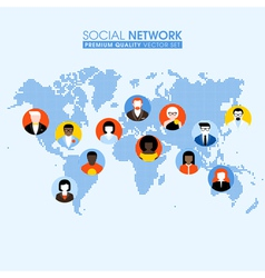 Social network flat concept with people on map vector image vector image