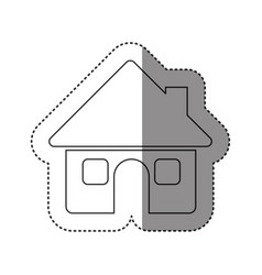 sticker of monochrome contour of house with two vector image