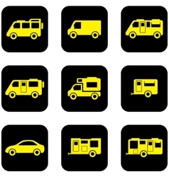 yellow transport set on black icons vector image