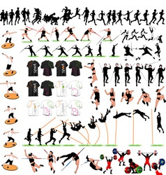88 sport silhouettes and t-shirts set vector