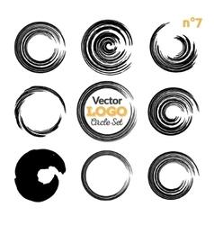 Grunge circle brush strokes set Hand made vector image vector image