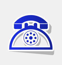 retro telephone sign new year bluish icon vector image