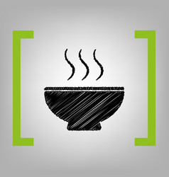 soup sign black scribble icon in citron vector image vector image