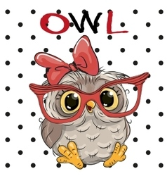 Cute Owl with glasses vector image vector image