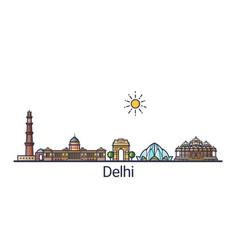flat line delhi banner vector image