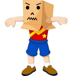 funny boy cartoon playing cardboard vector image