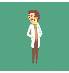 Funny scientist in lab coat standing and smiling vector