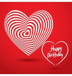 Happy birthday white heart on red background vector image vector image