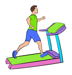 man running on a treadmil icon cartoon vector image vector image