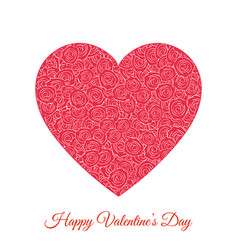 red floral heart happy valentines day vector image