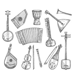 sketch icons of musical instruments vector image vector image