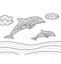 Dolphins coloring book for adults vector image vector image
