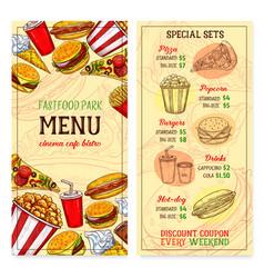 fast food restaurant fastfood meals menu vector image vector image