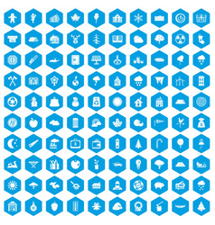 100 lumberjack icons set blue vector