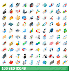 100 seo icons set isometric 3d style vector image