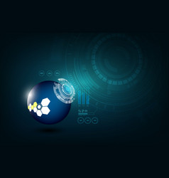 abstract tech sphere digital circuit pattern vector image