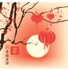 autumn landscape with tree and paper lanterns vector image