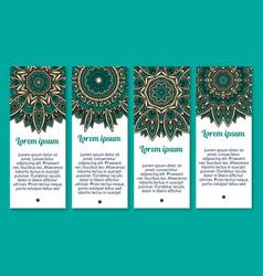 banners floral paisley or mandala pattern vector image