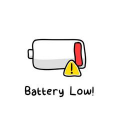 Battery low sketch vector