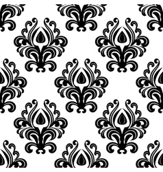 Black floral damask seamless pattern vector image