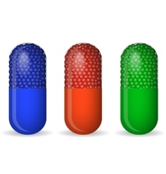Blue green and red pills vector image