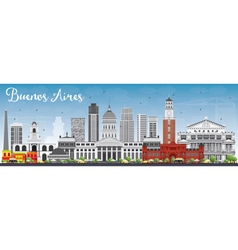 Buenos Aires Skyline with Color Landmarks vector