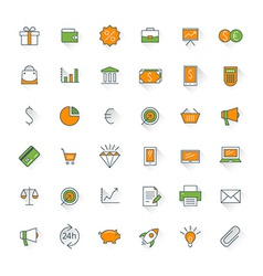 Business flat design icon set Money shopping bank vector image