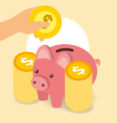business piggy bank hand with coins money vector image