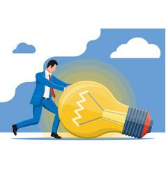 businessman pushing big light idea bulb vector image