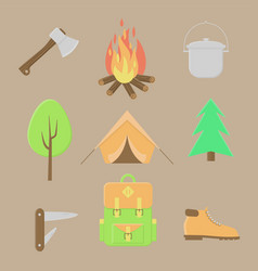 camping icons summer outdoor set vector image