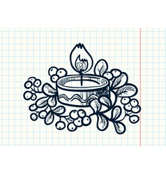Candle with mistletoe vector
