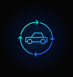 Car in circular arrows blue line icon vector