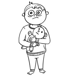 cartoon of scared boy in pyjamas holding a teddy vector image