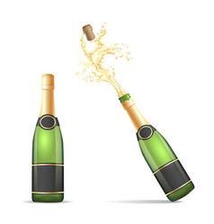 champagne bottle with popping cork vector image